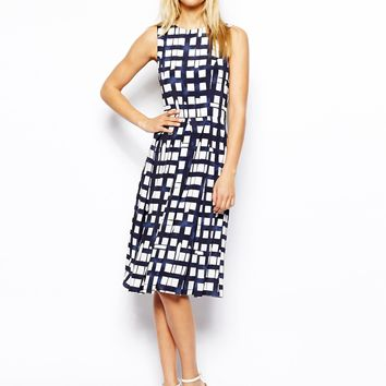 ASOS Sleeveless Midi Dress In Check - Navy/white