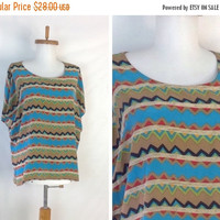 SUMMER SALE 35% off Silk Tee Print Silk Blouse  Silk Shirt  Silk T Shirt Aztec Print Clothing  Silk Print  Blouse Slouchy Blouse 43 inch bus