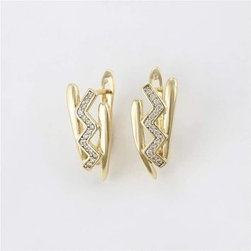 Chevron cz Huggies 18kts of Gold Plated Earrings