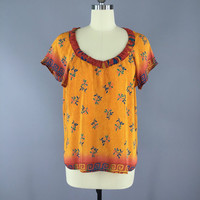 India Silk T-Shirt Blouse / Vintage Indian Sari / Indian Silk Blouse / Orange Floral Print / Size Large L
