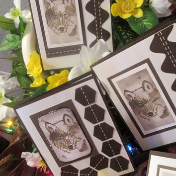 Set of 4 Birthday and Thinking of You Wolf Cards