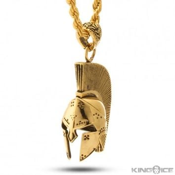 King Ice 14k Antique Gold Gladiator Helmet Necklace