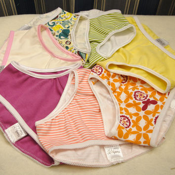 Seven pairs girl's underwear, organic cotton, one week of toddler panties, EC panties