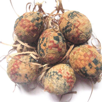 Primitive FOLK ART EGGS handcrafted from an 1800's Hand Woven Antique Coverlet Primitive-Set of 6 Folk Art Egg Ornaments