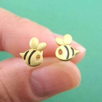 Tiny Bumble Bee Bug Shaped Stud Earrings in Black and Gold
