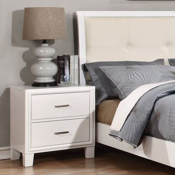 Wolson Contemporary 2-Drawer Nightstand in White