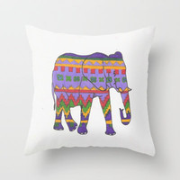Tribal Elephant Throw Pillow by Sarah Hinds