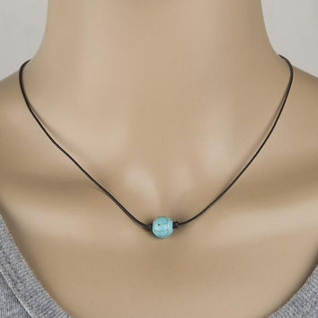 "Single Rubble Genuine Turquoise Choker Necklace on Black Leather Cord 14"" + Gift Box"