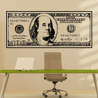 Vinyl Wall Decal Sticker Big 100 Dollar Bill #1560