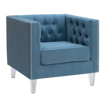 Ariel Collection Contemporary Polyester Velvet Fabric Upholstered Button Tufted Silver Nailhead Accented Living Room Tuxedo Arm Chair with Clear Acrylic Legs, Teal