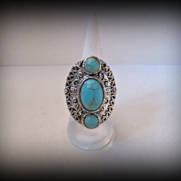 Bohemian jewelry,Turkish jewellery,turquoise silver ring,large tribal ring,gypsy ring,large ring,adjustable ring,miao silver ring