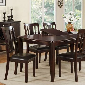 Poundex F2179-1285 7 pc barista ii collection dark rosy brown wood finish dining table with butterfly leaf