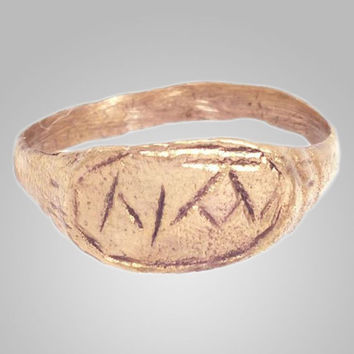 Ancient Viking Mans Ring with Runes C.866-1067AD. Size 12 (22.3mm)(BRR25)