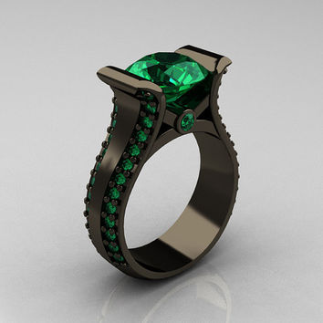 Modern 14K Black Gold 30 Carat Emerald Bridal Ring by artmasters