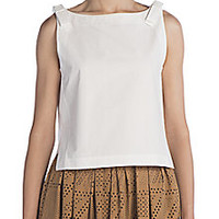 Fendi - Sleeveless Cotton Bow Top - Saks Fifth Avenue Mobile