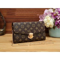 LV Fashion Women Leather Metal Chain Buckle Shoulder Bag Crossbody Satchel Coffee LV Print I-WMXB-PFSH