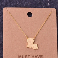 Where I Come From Louisiana State Necklace (Gold)
