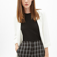 FOREVER 21 High-Waisted Plaid Shorts Black/White