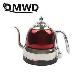 DMWD Long Spout Mouth Electric Kettle Hot Water Boiler Quick Heating Tea Pot 304 Stainless Steel Drip Boiling Coffee Pot 1.2L EU
