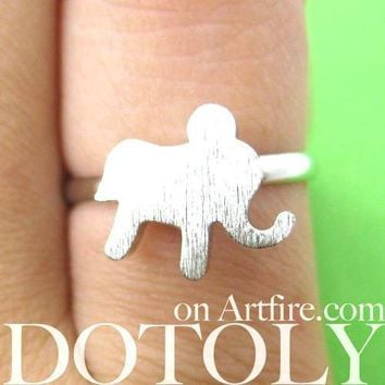 Adjustable Elephant Silhouette Shaped Animal Ring in Silver | DOTOLY