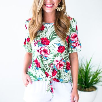 Want More Palm Print Tie Front Top