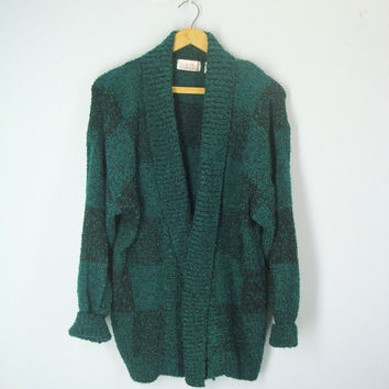 Vintage 80s Cardigan, Boucle Green Sweater, Boho Sweater, 1980 Boucle Cardigan, Slouchy Sweater Cardigan, XL, Sweater Jacket