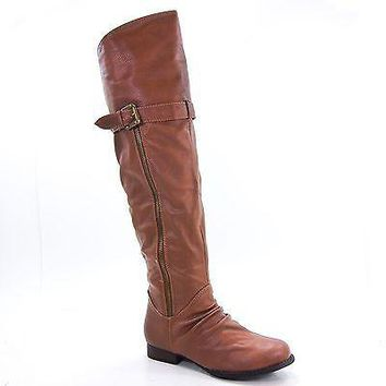 Rascal02 By Bamboo, Women Thigh-High Riding Boot Buckle Zipper Faux Fur Lining