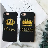 Fashion Brand King Queen Hard Plastic Back Covers for Apple iPhone 6 6s 5 5s SE 6Plus 7 7Plus 8 8Plus X 10 Phone Case Shell