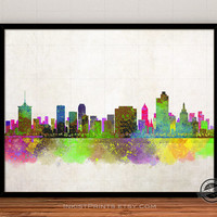 Tulsa Skyline Watercolor Poster, Oklahoma Print, Cityscape, City Painting, States, Illustration Art Paint, Giclee Wall, Home Decor