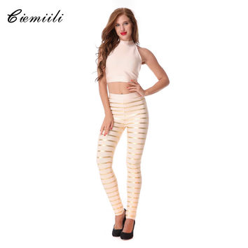 CIEMIILI 2017 New Women Back Design Oil Print Striped Bandage Jumpsuit Gold Silver 2 Pieces Set Evening Party Celebrity In Stock