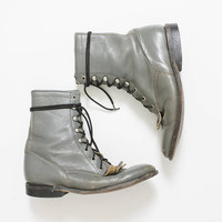 Vintage Justin Boots - Grey Leather Fringe Lace Up Hand Made Ankle Boot Sz 7 D