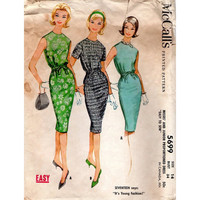 Mod Retro Mad Men Style Sheath Dress McCall's 60s Sewing Pattern Sleeveless Tapered Drawstring Waist Wiggle Dress Bust 34
