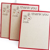 Kids Christmas Thank You Note Cards Set of Ten, Reindeer Thank You Stationery