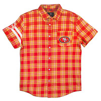 San Francisco 49ers Wordmark Basic Flannel Short Sleeve Shirt Sizes S-XXL w/ Priority Shipping