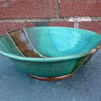 "Pasta or Salad Bowls, Central Bold Brown Stripe and Deep Greens and Teal,  7.25"" Diameter by 2.25"" High"