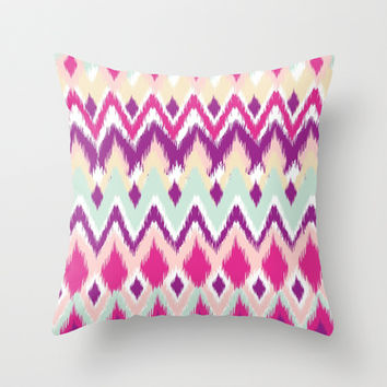 Aztec Tribal Pink Purple iKat Inspired Pattern Design  Throw Pillow by TRM Design