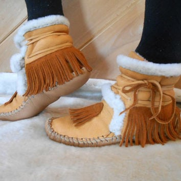 Fur Lined Moccasin Boots, Handmade Ankle Boots, Hand Sewn Mocs, Fringe Moccasins, Hippie, Boho, Sheep Shearling Lined, Custom Made