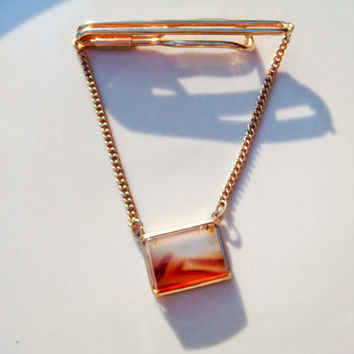 Vintage Tie Clip Gold Chain with Amber Quartz Chunk