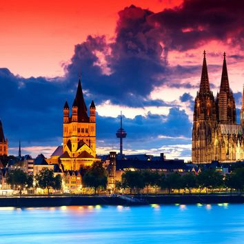 Gothic cathedral in Cologne Germany city night river clouds 186FJ living room home wall art decor wood frame fabric poster