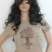 Ladies Cotton Tree Tshirt, Nature, Natural, Tan, Beige, Womens Tee Shirt