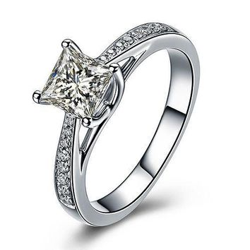 925 Sterling Silver Princess Cut Cubic Zirconia Wedding Engagement Ring