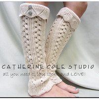 Hand knit look knit leg warmers in CAMEL  TAN w 2 antique metal lace button leg warmers Catherine Cole Studio