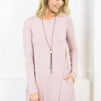 Long Sleeve Swing Dress with Pockets | Dusty Blush