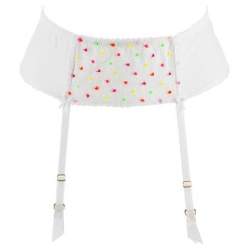 Mimi Holliday Parakeet White Suspender Belt | dolcifollie.co.uk