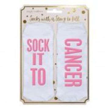 Simply Southern Sock It To Cancer Socks - White