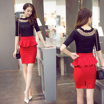 Summer Fashion Korean Casual Ladies Bodycon Skirt