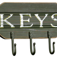 Cabin Lodge Lake Style Distressed Hook Board for Keys - Green - 3 Hooks