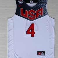 NBA Warriors FIBA Star Stephen Curry White Blue Red USA Basketball Jersey 4