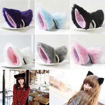 1 Pair Orecchiette Party's Long Fur Bell Ears Kawaii Anime Fox Cat Neko Maid Costume Hair Clip Cosplay Halloween Party Consume