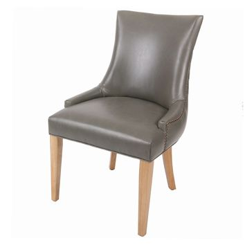 Celinda Bonded Leather Tufted Back Chair, Vintage Gray